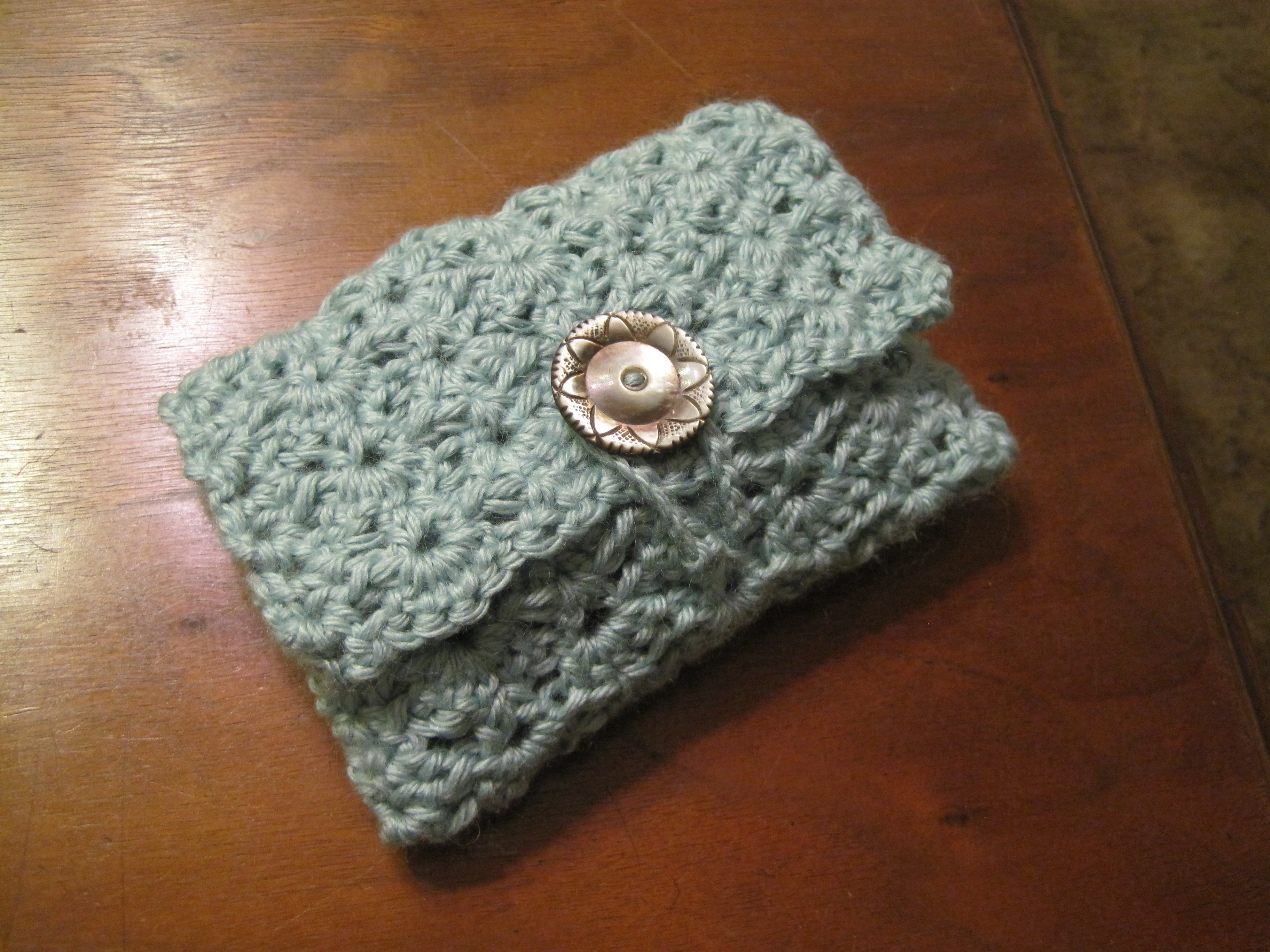 First bamboo/wool crochet make-up bag with Victorian vintage button ...